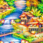 Watercolor painting of Thai rural village live in nature with stream, wooden cottages and waterfall in the morning.